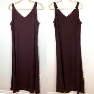 Eileen Fisher Silk Crepe V-Neck Tank Dress Purple